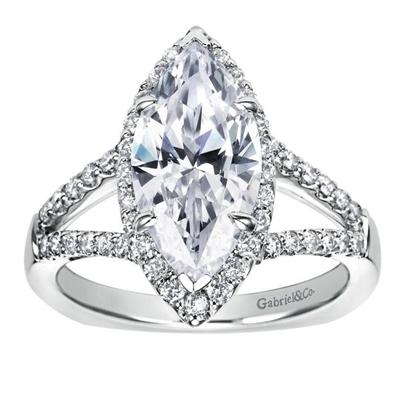 14k White Gold Marquise Split Shank Diamond Halo